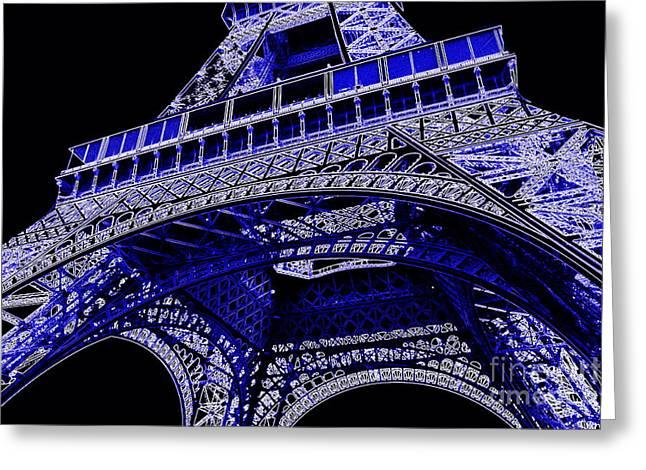 Carol Groenen Greeting Cards - Electric Blue Eiffel Tower  Greeting Card by Carol Groenen