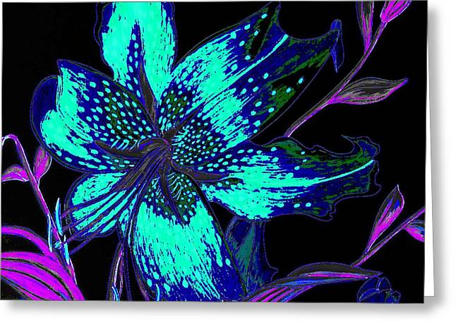 Pen And Ink Drawing Digital Art Greeting Cards - Electric Blue Stargazer Greeting Card by Laura Wilson