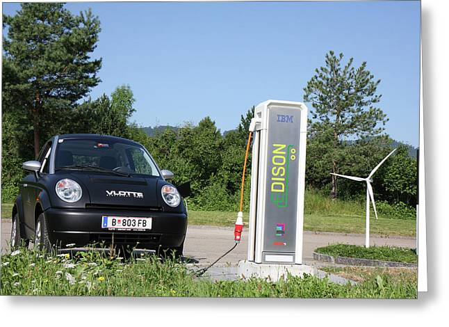 Electric Car And Charger Greeting Card by Ibm Research