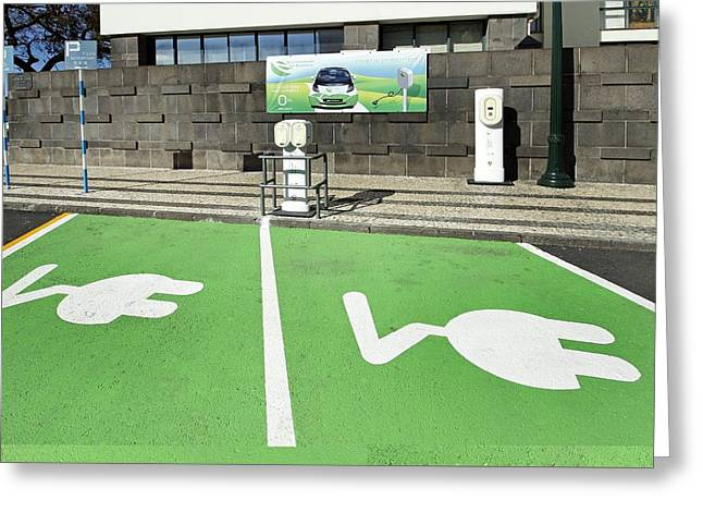 Electric Vehicle Greeting Cards - Electric car charging points Greeting Card by Science Photo Library