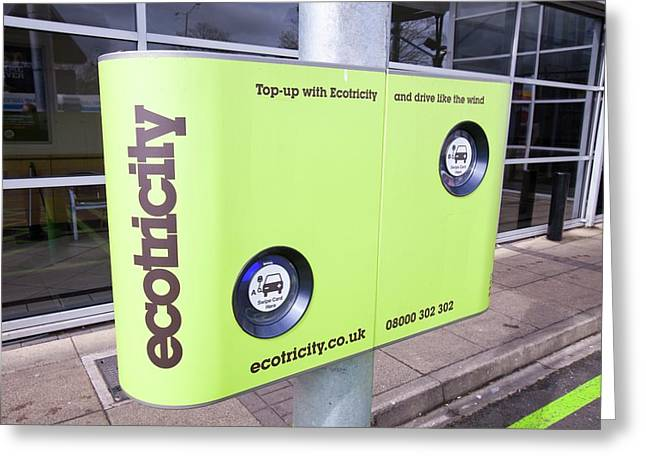 Electric Car Recharging Station Greeting Card by Ashley Cooper
