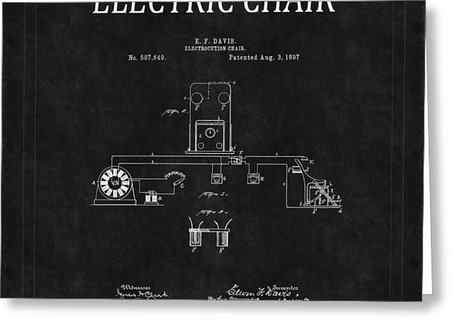 Electrocution Greeting Cards - Electric Chair Patent 6 Greeting Card by Andrew Fare