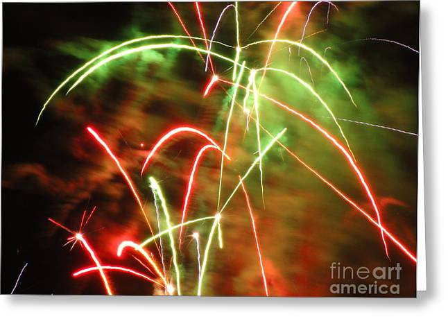 Electric City Fireworks Ix Greeting Card by Daniel Henning