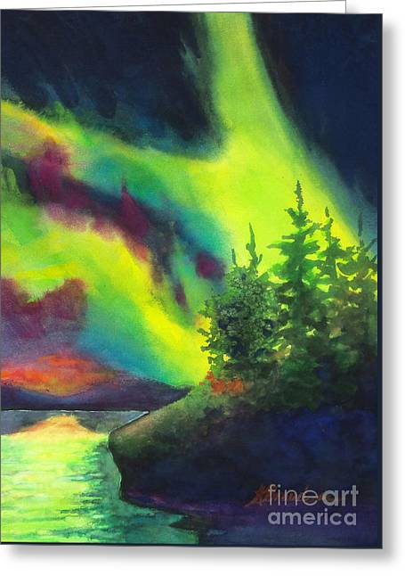 Reflection In Water Greeting Cards - Electric Green in the Sky 2 Greeting Card by Kathy Braud