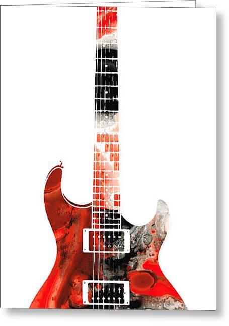 Player Greeting Cards - Electric Guitar - Buy Colorful Abstract Musical Instrument Greeting Card by Sharon Cummings