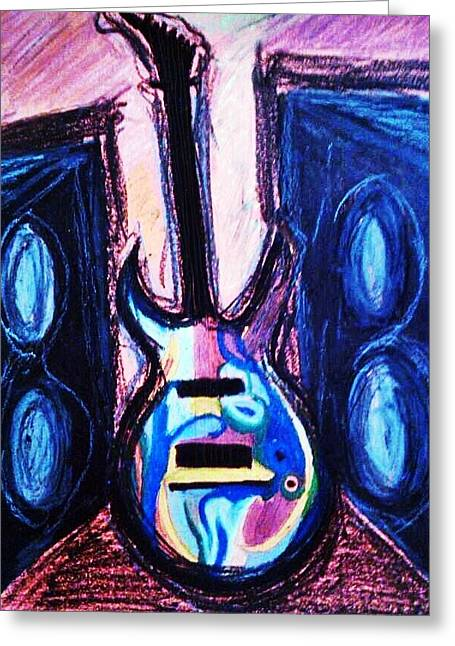 Spectrum Pastels Greeting Cards - Electric Guitar Greeting Card by Eliza Paul