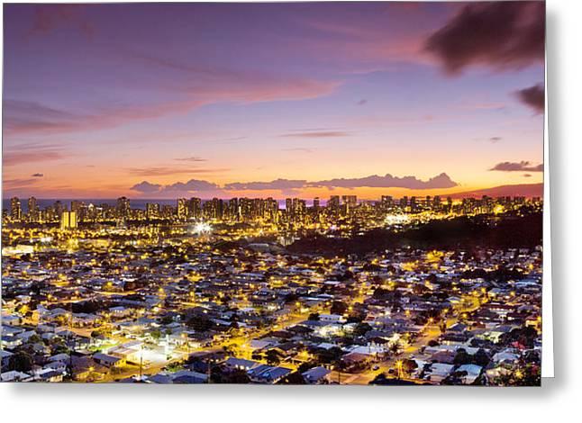 Waikiki Greeting Cards - Electric Honolulu Greeting Card by Sean Davey
