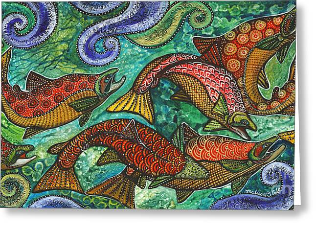 Salmon Paintings Greeting Cards - Electric Kokanee Greeting Card by Melissa Cole