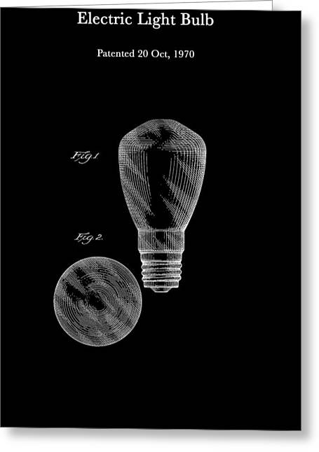 Electric Light Bulb Patent 1970 Greeting Card by Mountain Dreams