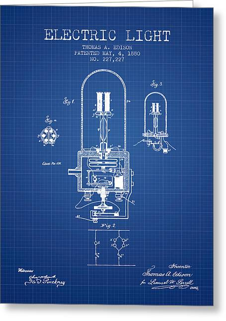 Incandescent Greeting Cards - Electric Light Patent from 1880 - Blueprint Greeting Card by Aged Pixel