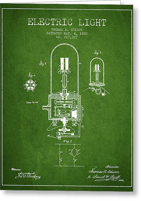 Edison Greeting Cards - Electric Light Patent from 1880 - Green Greeting Card by Aged Pixel