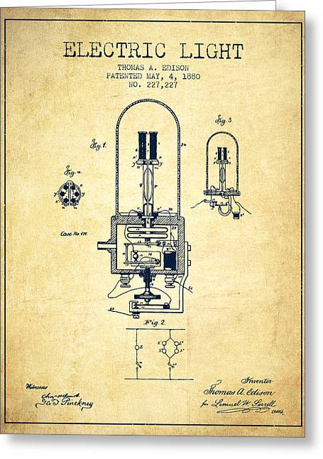 Edison Greeting Cards - Electric Light Patent from 1880 - Vintage Greeting Card by Aged Pixel