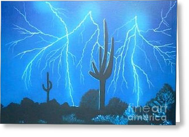 Arizona Lightning Paintings Greeting Cards - Electric Night Greeting Card by Yvonne Cacy