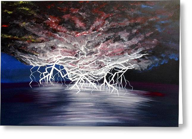 Unusual Lightning Paintings Greeting Cards - Electric Nights Greeting Card by Teressa Nichole