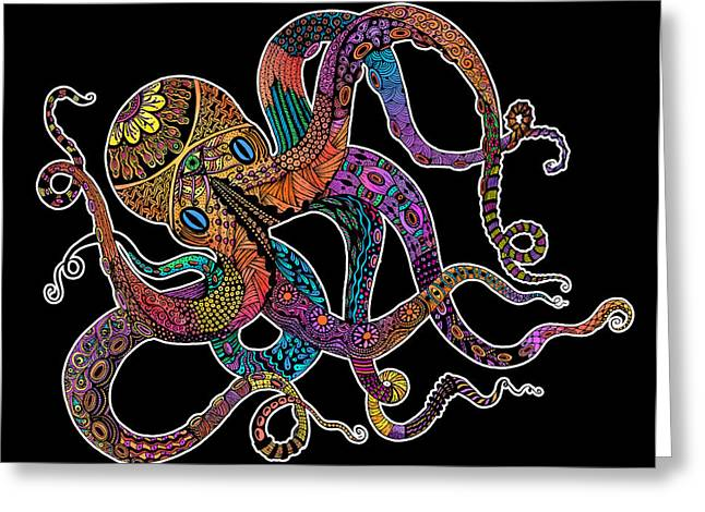 Sea Life Digital Art Greeting Cards - Electric Octopus on Black Greeting Card by Tammy Wetzel