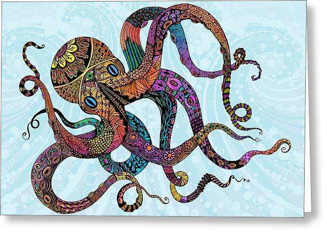 Octopus Greeting Cards - Electric Octopus Greeting Card by Tammy Wetzel
