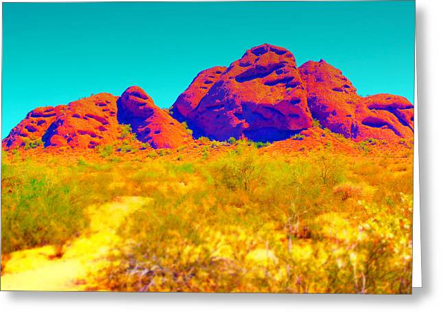Scottsdale Artist Greeting Cards - Electric Papago Park Greeting Card by Michelle Dallocchio