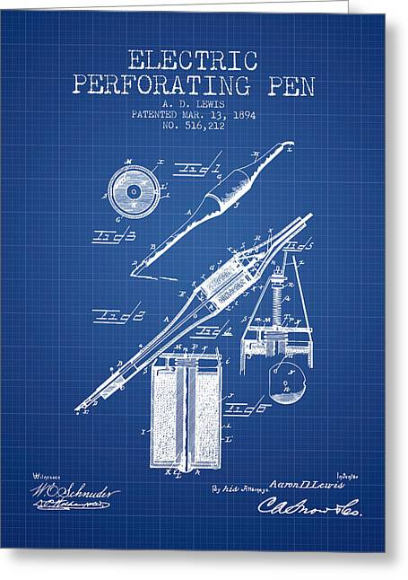 Ball Point Pen Greeting Cards - Electric Perforating Pen Patent from 1894 - Blueprint Greeting Card by Aged Pixel