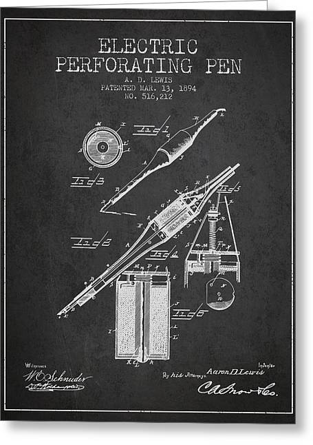 Pen Greeting Cards - Electric Perforating Pen Patent from 1894 - Charcoal Greeting Card by Aged Pixel