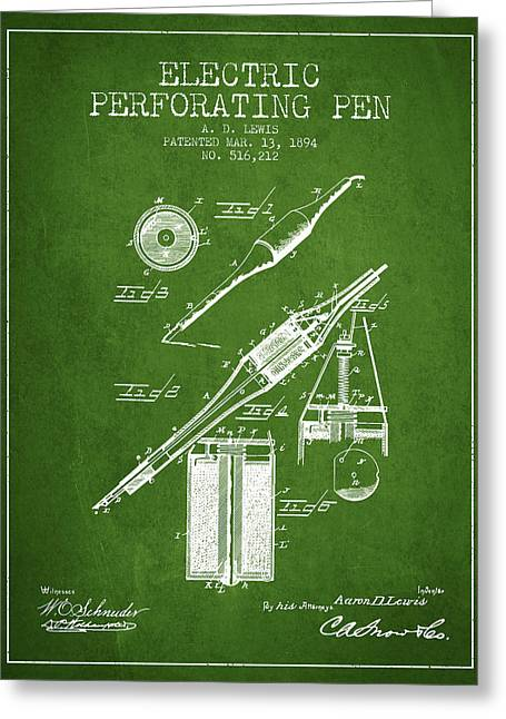Pen Greeting Cards - Electric Perforating Pen Patent from 1894 - Green Greeting Card by Aged Pixel