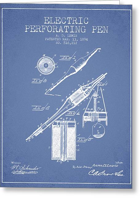 Pen Greeting Cards - Electric Perforating Pen Patent from 1894 - Light Blue Greeting Card by Aged Pixel