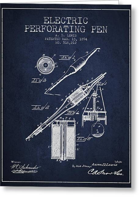 Pen Greeting Cards - Electric Perforating Pen Patent from 1894 - Navy Blue Greeting Card by Aged Pixel