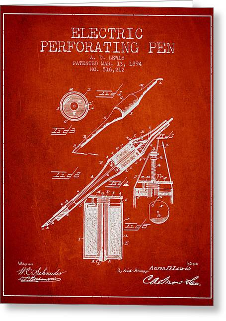Pen Digital Greeting Cards - Electric Perforating Pen Patent from 1894 - Red Greeting Card by Aged Pixel