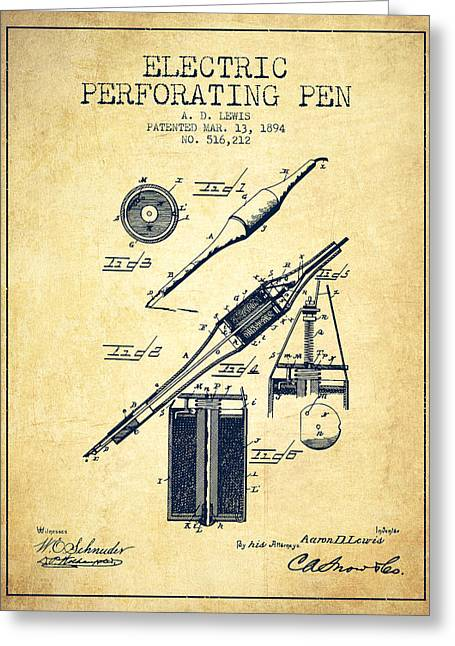 Pen Greeting Cards - Electric Perforating Pen Patent from 1894 - Vintage Greeting Card by Aged Pixel