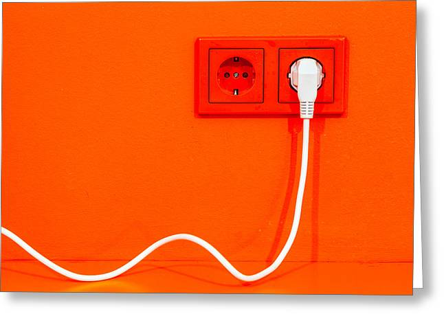 Electrical Plug Greeting Cards - Plugged in Greeting Card by Alexey Stiop