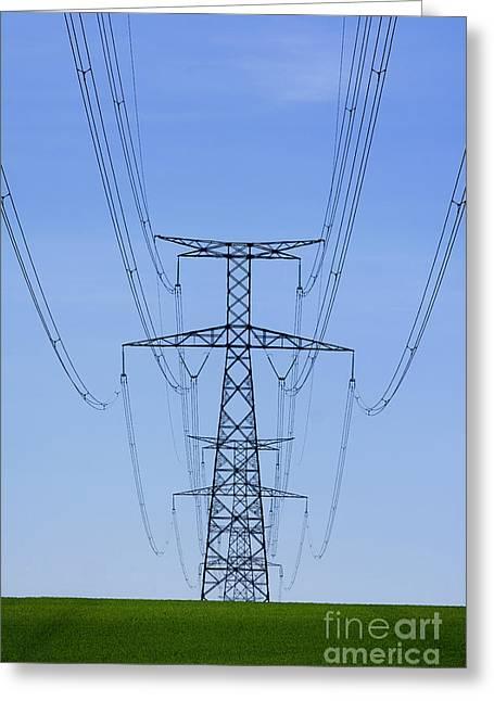 Power Lines Greeting Cards - Electric pole Greeting Card by Bernard Jaubert