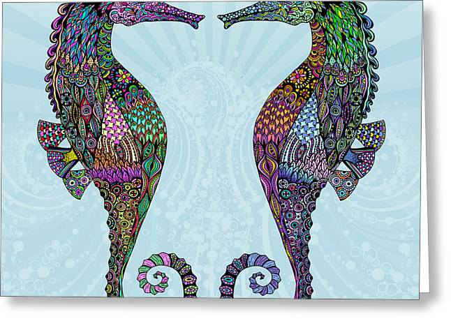 Seahorse Digital Art Greeting Cards - Electric Seahorses Greeting Card by Tammy Wetzel