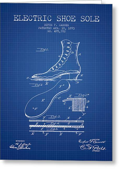 Footwear Greeting Cards - Electric Shoe Sole Patent from 1893 - Blueprint Greeting Card by Aged Pixel