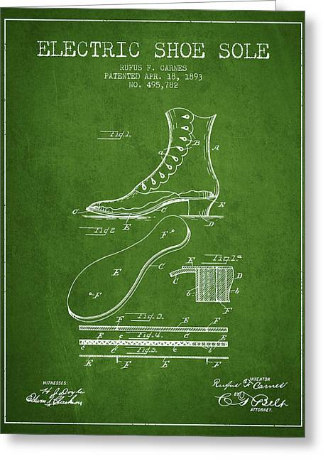 Footwear Greeting Cards - Electric Shoe Sole Patent from 1893 - Green Greeting Card by Aged Pixel