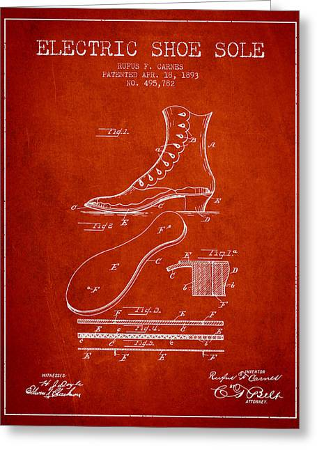 Footwear Greeting Cards - Electric Shoe Sole Patent from 1893 - Red Greeting Card by Aged Pixel