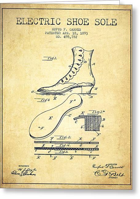 Vintage Shoes Greeting Cards - Electric Shoe Sole Patent from 1893 - Vintage Greeting Card by Aged Pixel