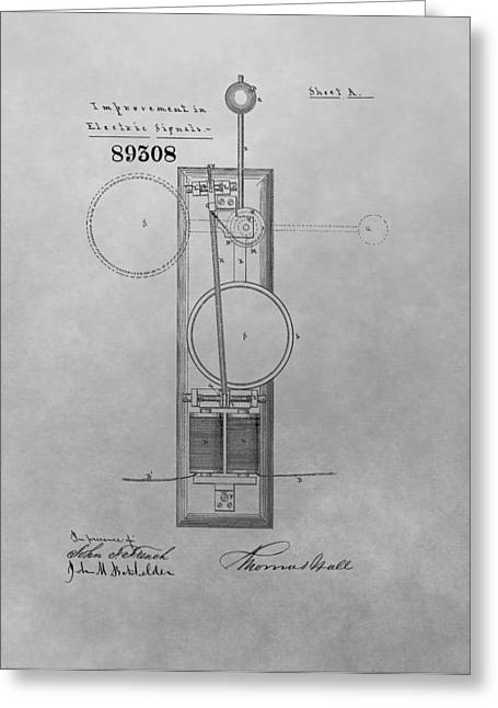 Traffic Drawings Greeting Cards - Electric Signal Patent Drawing Greeting Card by Dan Sproul