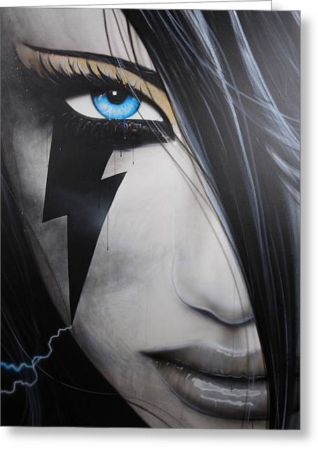 Portrait - ' Electric Sin ' Greeting Card by Christian Chapman Art