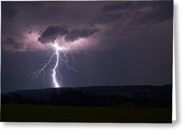 Keuka Greeting Cards - Electric Sky Greeting Card by Steven Yacuzzo