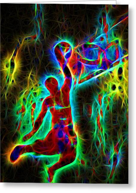 Michael Jordan Greeting Cards - Electric Slam Dunk Basketball Greeting Card by Dan Sproul