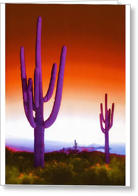 Cacti Digital Greeting Cards - Electric Southwest 2 Greeting Card by Mike McGlothlen