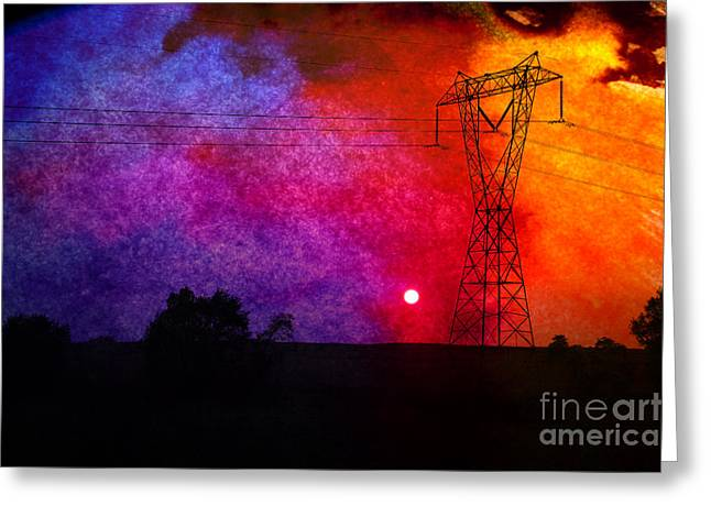 Electric Current Mixed Media Greeting Cards - Electric Sunset Greeting Card by R Kyllo