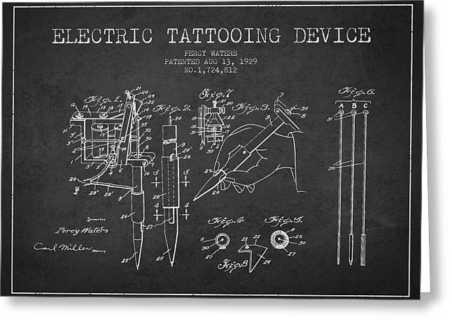 Tattoo Digital Greeting Cards - Electric Tattooing Device Patent From 1929 - Charcoal Greeting Card by Aged Pixel