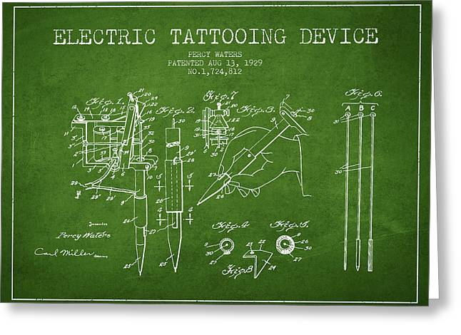 Tattoo Digital Greeting Cards - Electric Tattooing Device Patent From 1929 - Green Greeting Card by Aged Pixel