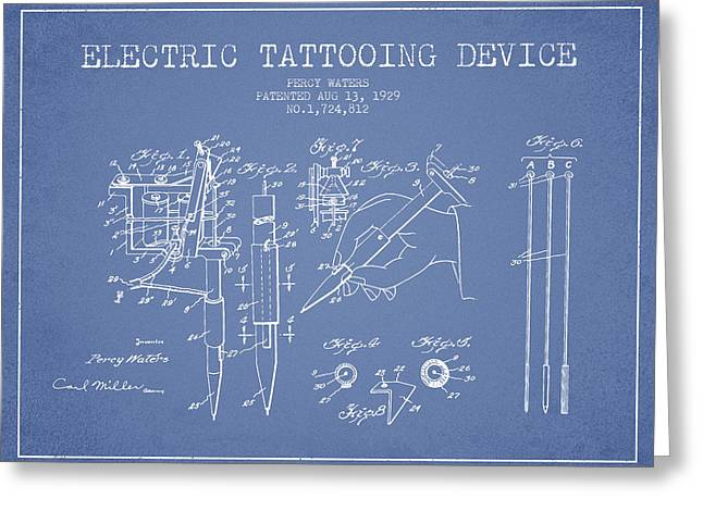 Tattoo Digital Greeting Cards - Electric Tattooing Device Patent From 1929 - Light Blue Greeting Card by Aged Pixel