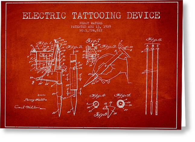 Tattoo Digital Greeting Cards - Electric Tattooing Device Patent From 1929 - Red Greeting Card by Aged Pixel