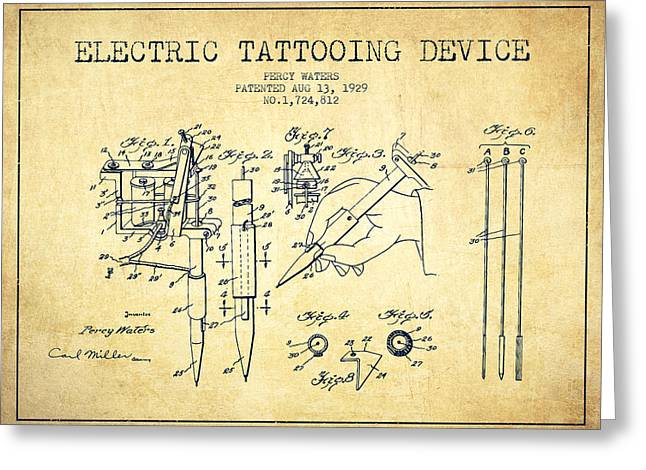 Device Greeting Cards - Electric Tattooing Device Patent From 1929 - Vintage Greeting Card by Aged Pixel