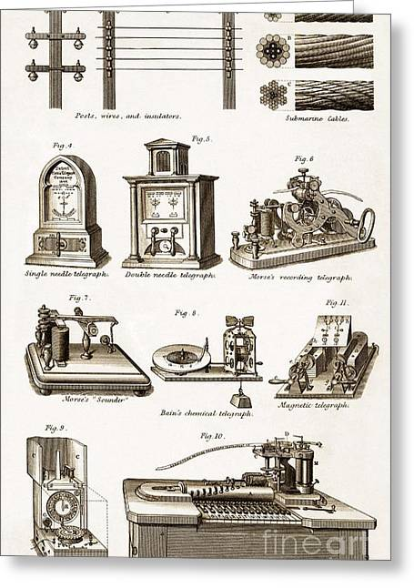 Technical Greeting Cards - Electric Telegraph Equipment, 19th Greeting Card by Sheila Terry