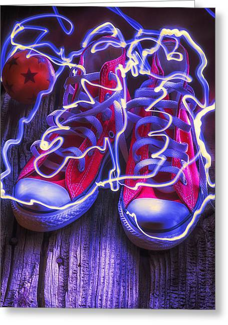 Footwear Greeting Cards - Electric tennis shoes  Greeting Card by Garry Gay