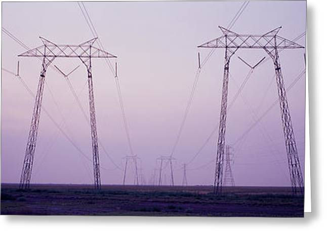 Evening Scenes Greeting Cards - Electric Towers At Sunset, California Greeting Card by Panoramic Images