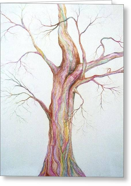 Bare Trees Drawings Greeting Cards - Electric Tree Greeting Card by DA Neace